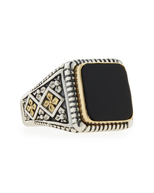 Konstantino | Metallic Men's Onyx Square Ring for Men | Lyst