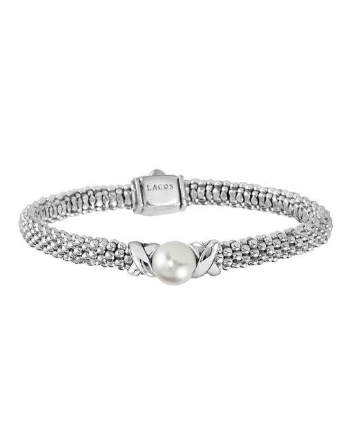 Lagos | Metallic Luna 8mm Pearl & 6mm Caviar Rope Bracelet | Lyst