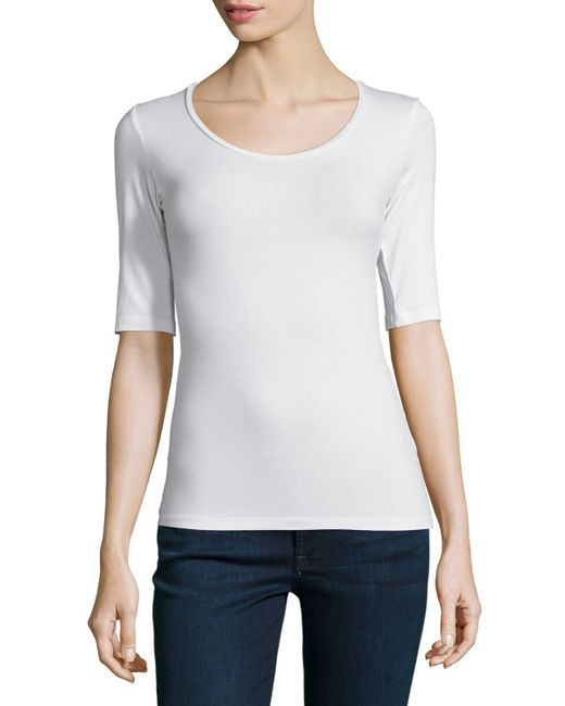 Neiman Marcus | White Soft Touch Half-sleeve Scoop-neck Top | Lyst