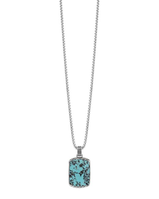John Hardy | Metallic Large Turquoise Dog Tag Pendant for Men | Lyst