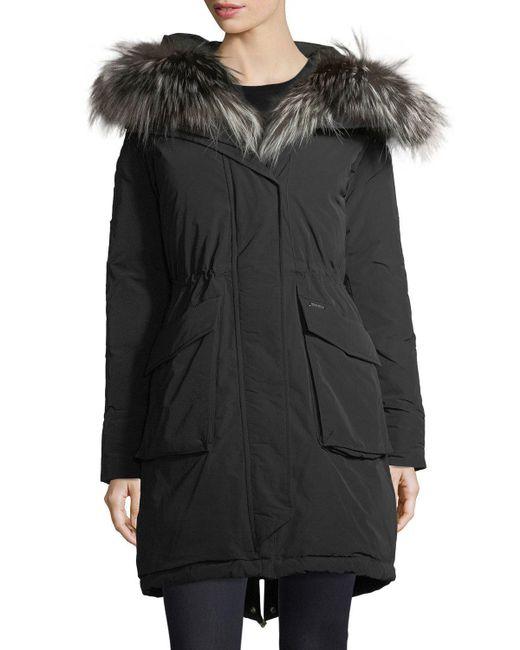 woolrich military hooded midi parka coat w fur trim in. Black Bedroom Furniture Sets. Home Design Ideas