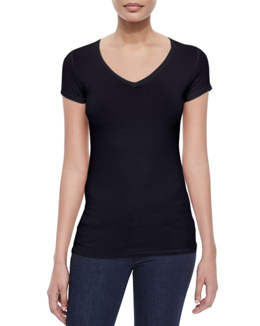 Neiman Marcus   Blue Soft Touch Short-sleeve V-neck Tee   Lyst