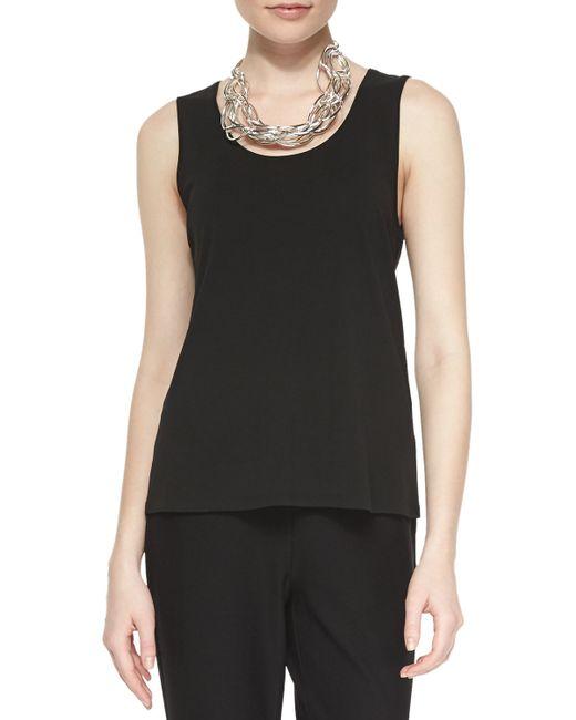 Eileen Fisher | Black Clssc Silk Jersey Tank | Lyst