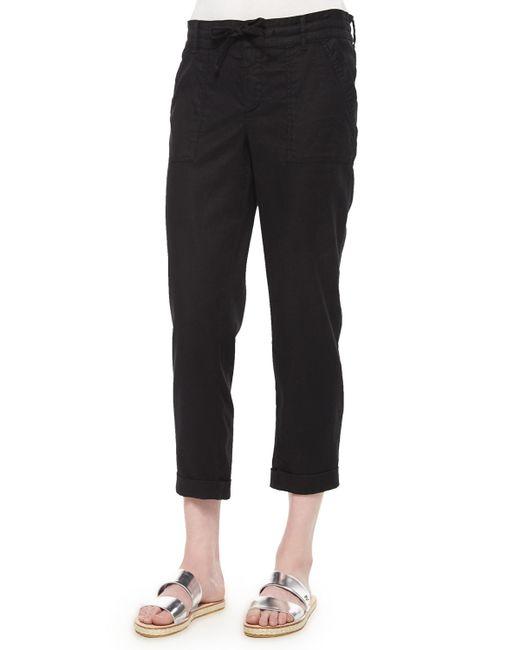 CJ by Cookie Johnson | Black Linen-blend Cropped Pants | Lyst
