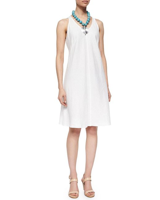 Eileen Fisher | White Sleeveless Linen Bias Dress | Lyst