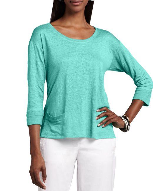 Eileen Fisher | White Linen Jersey Top | Lyst