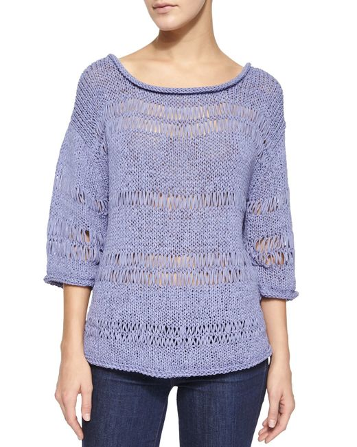 Pure Handknit   Purple 3/4-sleeve Exposed Knit Pullover   Lyst