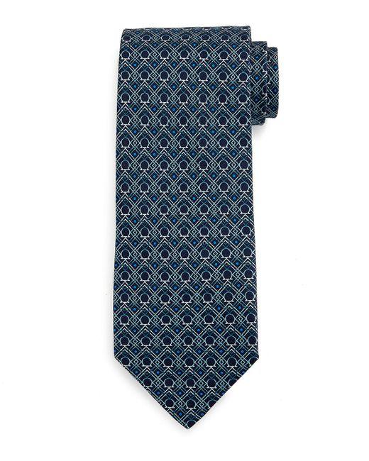 Ferragamo | Blue Large-gancini Print Silk Tie for Men | Lyst