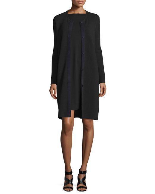 Eileen Fisher | Black Washable Wool Long Snap Jacket | Lyst