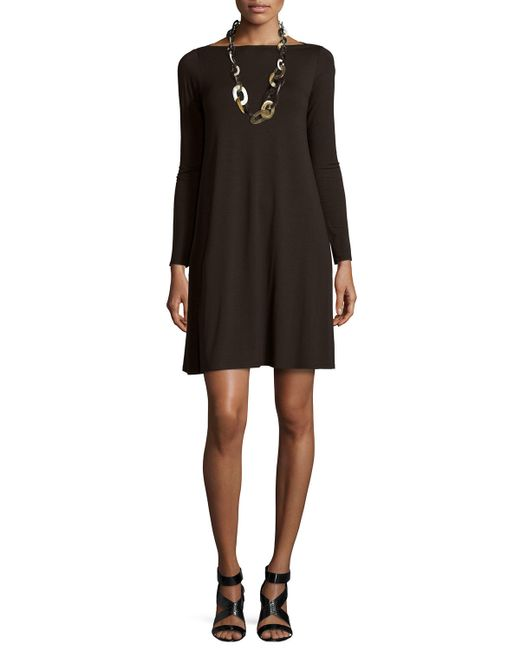 Eileen Fisher | Brown Long-sleeve A-line Dress | Lyst