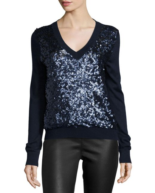 Magaschoni | Blue Long-sleeve Sequined-front Sweater | Lyst