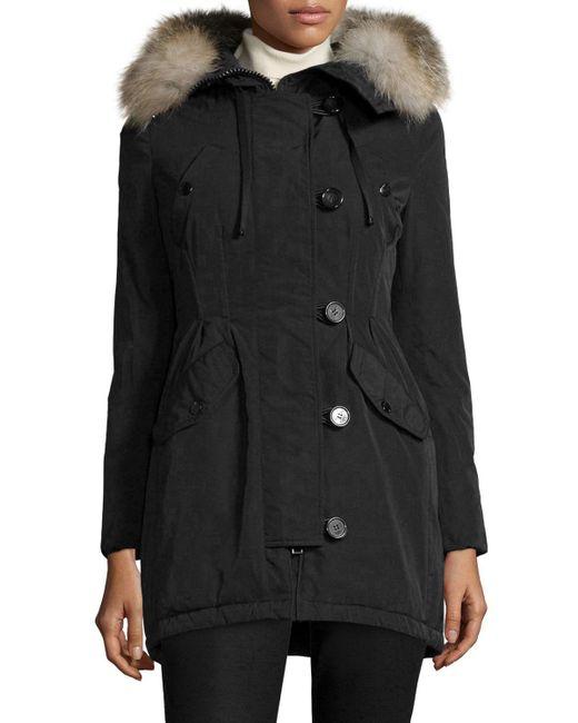 Moncler | Black Arriette Fur-trim Puffer Coat | Lyst