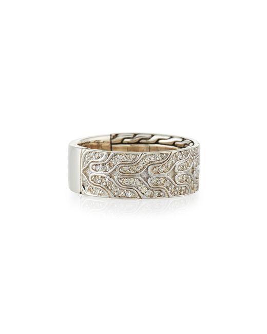 John Hardy | Metallic Men's Classic Chain Silver & Diamond Band Ring for Men | Lyst