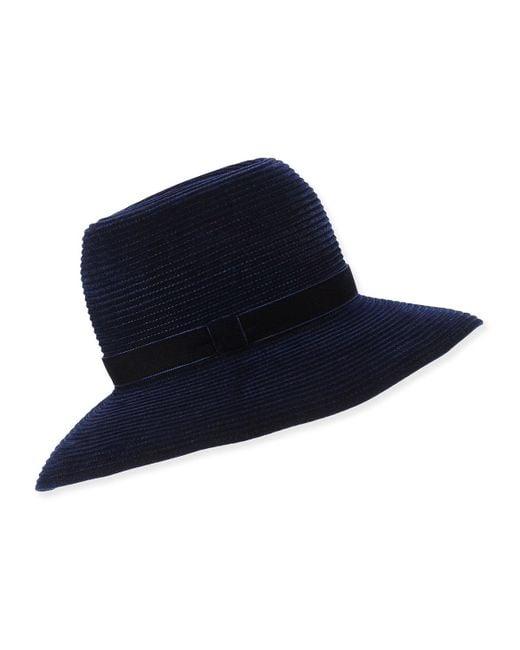 Gigi Burris Millinery   Blue Constance Ribbed Velvet Hat   Lyst