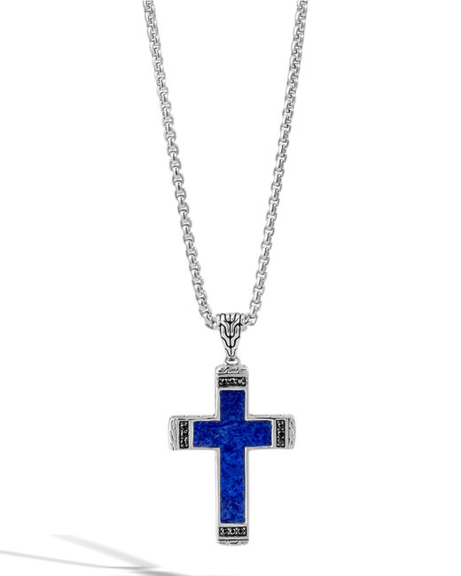 John Hardy | Blue Men's Classic Chain Lapis Cross Pendant Necklace With Black Sapphire for Men | Lyst