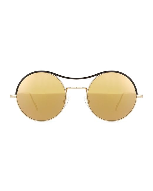 Kyme | Black Ros Top Round Mirror Sunglasses | Lyst