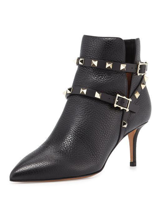 Valentino | Black Rockstud Grained Leather 65mm Ankle Boot | Lyst