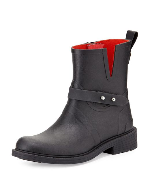Rag & Bone   Black Moto Rain Boot   Lyst