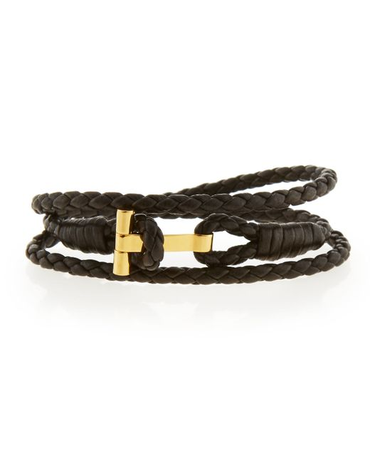 tom ford s leather t wrap bracelet in brown for lyst