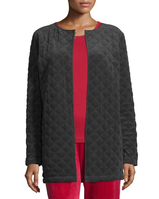 Joan Vass | Black Quilted Velour Cotton and Crepe-Blend Jacket | Lyst