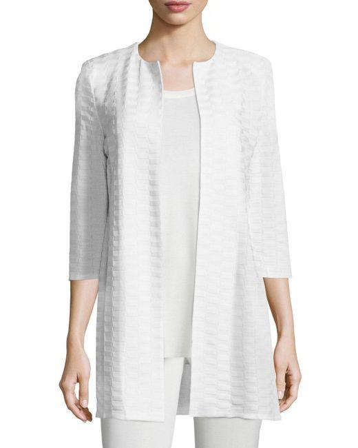 Misook | Natural Textured Long Open Jacket | Lyst