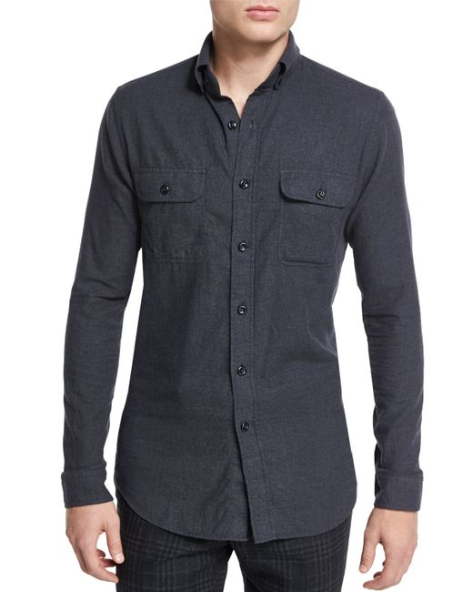 Tom ford brushed twill tailored fit sport shirt in gray for Brushed cotton twill shirt