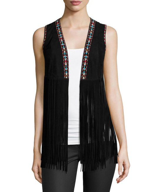 Lamarque | Black Sonia Embroidered Suede Fringe Vest | Lyst