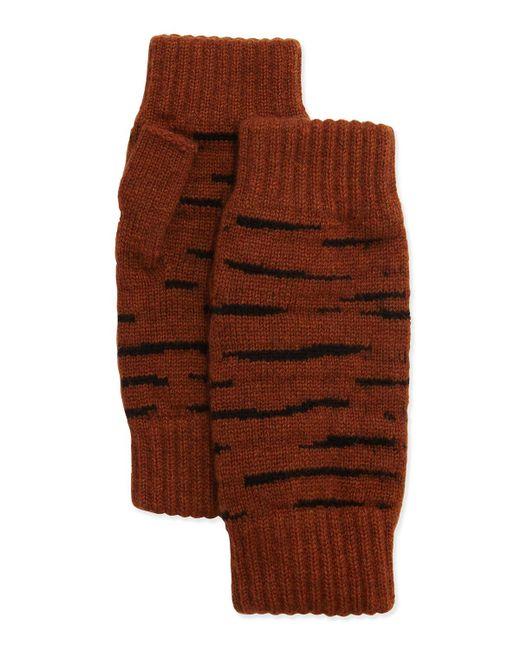 Rosie Sugden | Brown Cashmere Tiger-stripe Fingerless Gloves | Lyst