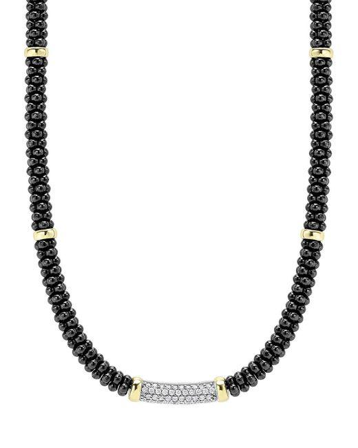 Lagos | Black Caviar Diamond Station Necklace | Lyst