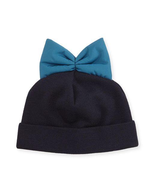 Federica Moretti | Blue Knit Beanie W/ Nylon Bow | Lyst