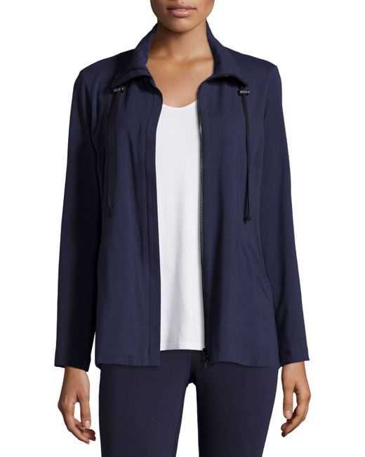 Eileen Fisher | Blue High-collar Stretch Jersey Jacket | Lyst