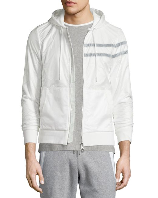 Moncler Nylon Zip-up Hoodie in White for Men | Lyst