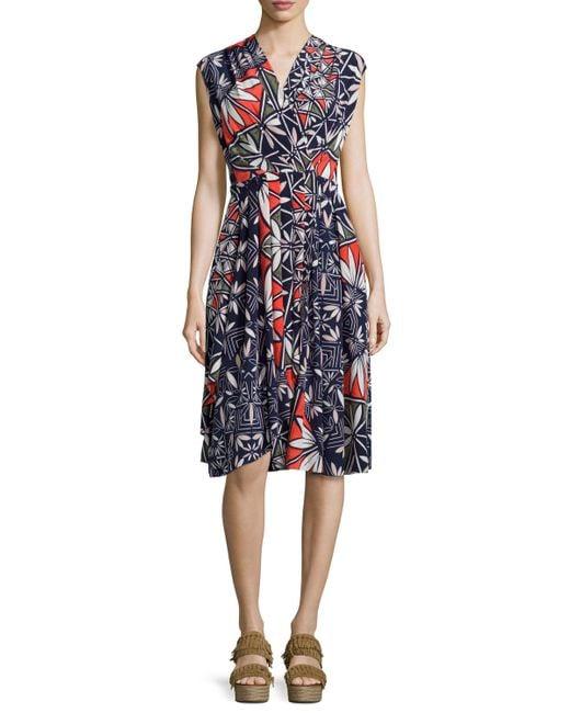 Tory Burch | Blue Pottery Sleeveless Cocktail Dress | Lyst