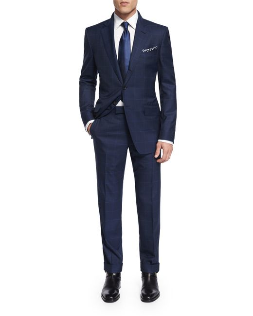Tom ford O'Connor Base Plaid Suit in Blue for Men
