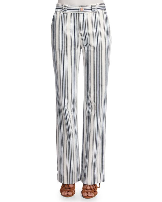 See By Chloé   Blue Striped Boot-cut Trousers   Lyst