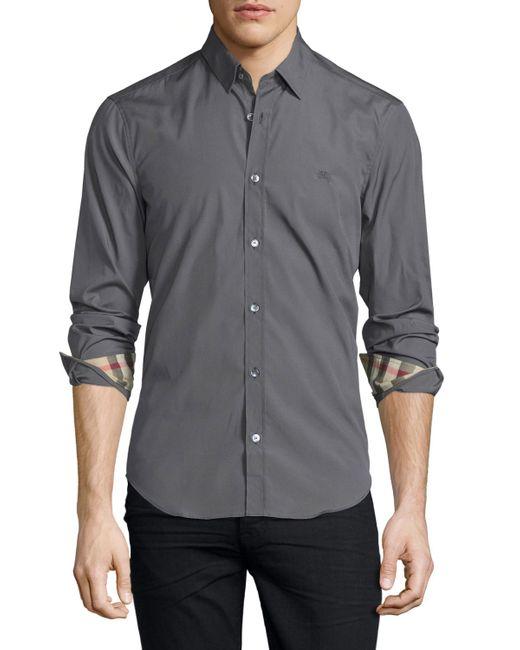 Burberry Brit Cambridge Long Sleeve Sport Shirt In Gray