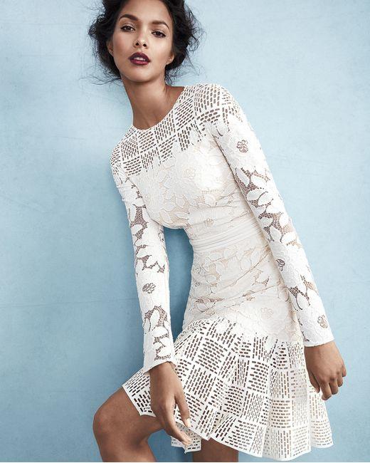 Tadashi Shoji Long Sleeve Mixed Media Dress In White Lyst