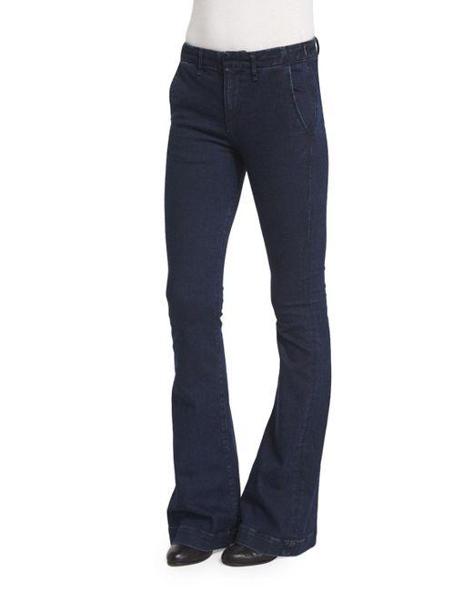 Rag & Bone | Blue Low-rise Bell-bottom Trousers | Lyst