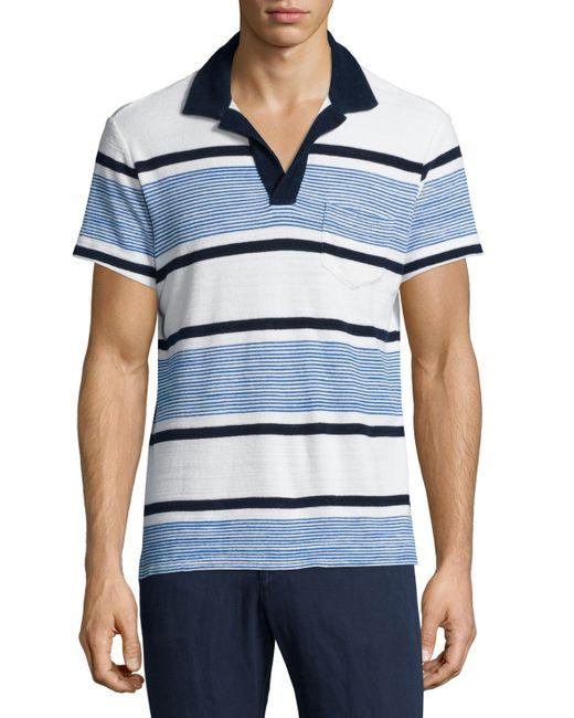 Ralph Lauren Classic Towels: Orlebar Brown Terry Towel Striped Short-sleeve Polo Shirt