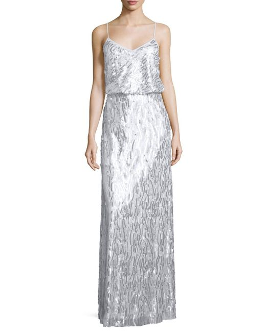 Donna Morgan | Metallic Courtney Spaghetti Strap Sequined Gown | Lyst