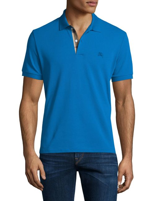Burberry Brit Core Short Sleeve Pique Polo Shirt In Blue