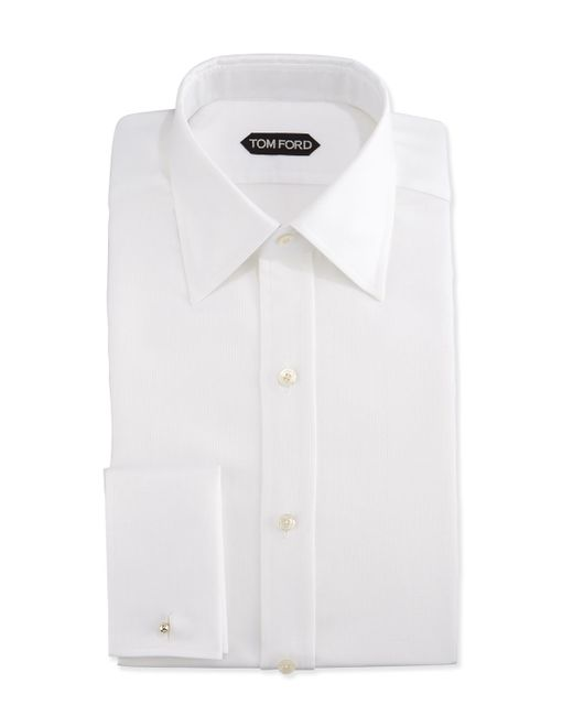 Tom ford classic french cuff slim fit dress shirt in white White french cuff shirt slim fit