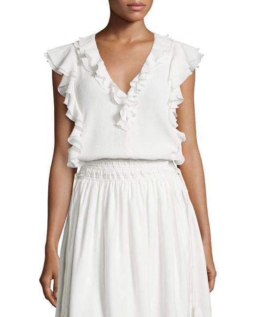 Apiece Apart | White Condesa Double-ruffle Sleeveless Top | Lyst