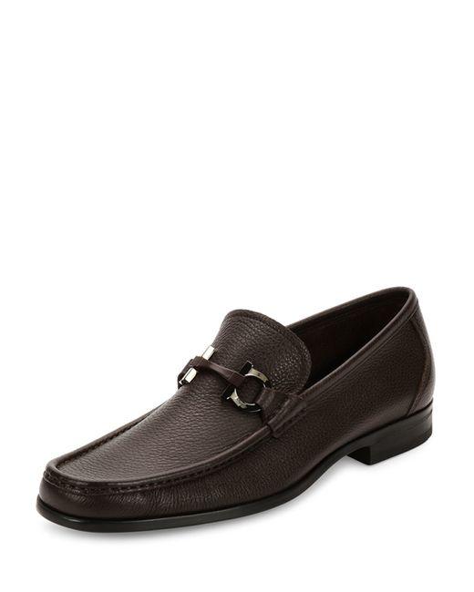 Ferragamo | Brown Grandioso Textured Calfskin Gancini Loafer for Men | Lyst