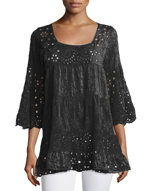 Johnny Was | White Bell-sleeve Eyelet Tiered Tunic | Lyst