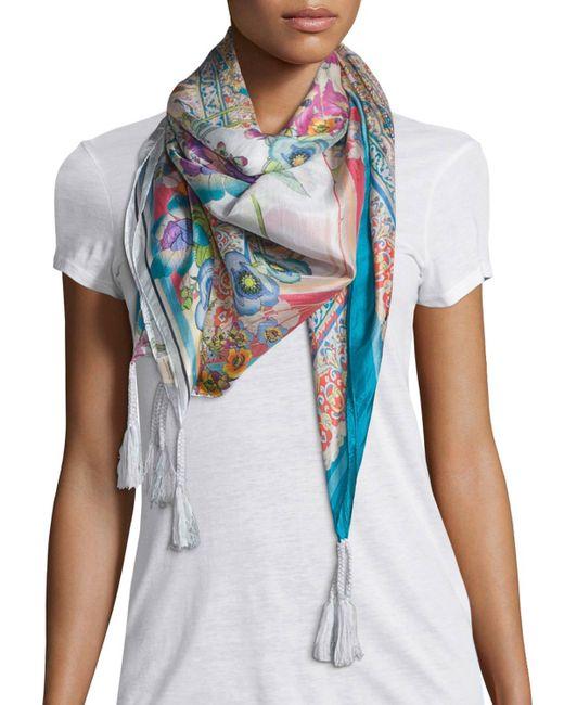 johnny was ajamite floral print silk scarf in multicolor