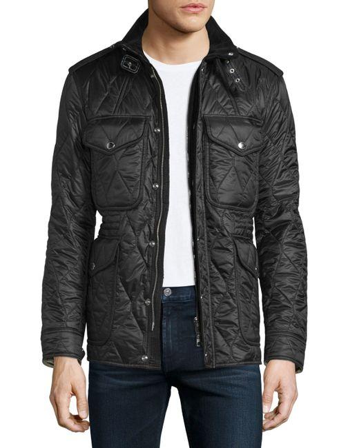 Burberry Brit Garrington Quilted Zip Up Jacket In Black