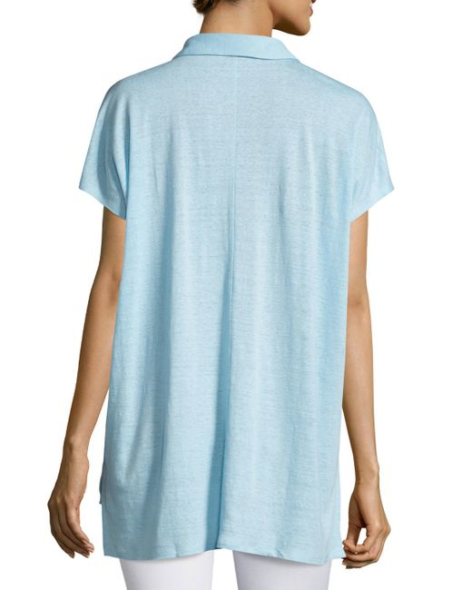 Eileen Fisher Short Sleeve Organic Linen High Low Tunic In