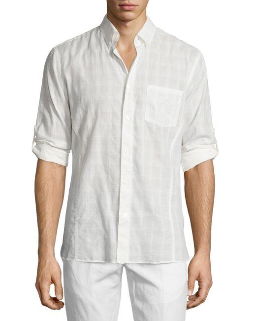 John Varvatos Tonal Plaid Roll Tab Sport Shirt In White