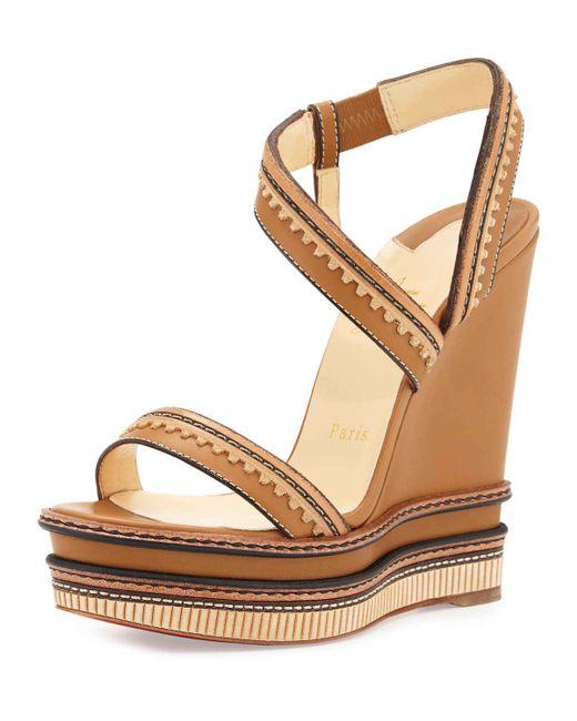 Religious Flat Acrylic: Christian Louboutin Trepi Platform Wedge Leather Sandals